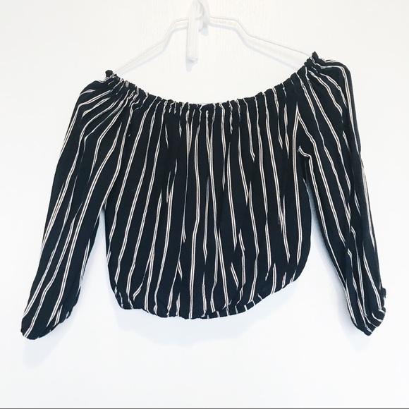 7dea16a7b9 Brandy Melville Tops - Brandy Melville striped Maura off shoulder top